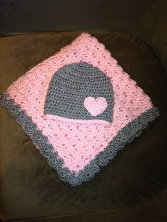 Pink and Gray Baby Blanket Crib Size & Hat by HandcraftedHolidays