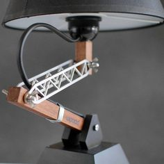 ● Industrial Style Lamp ● The Krick - it has a strong position! ● SIZING & MATERIALS - Base measures - Height adjusts from up to - Shade size: diameter, height; Industrial Style Lamps, Industrial Design, Bedside Lamp, Desk Lamp, Table Lamps, Metal Furniture, Industrial Furniture, Shade Screen, Water Based Stain