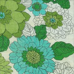 Vintage Fabric aqua teal turquoise green floral