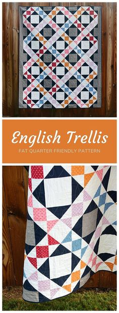 English Trellis by Cheryl of Meadow Mist Designs is a fat quarter friendly design that is reminiscent of English gardens and trellis fence work. The pattern is at a confident beginner level and includes instructions for four sizes: baby, lap, twin, and king. #MeadowMistDesigns #FatQuarterPattern #EnglishTrellis Vintage Quilts Patterns, Baby Quilt Patterns, Modern Quilt Patterns, Triangle Quilt Pattern, Triangle Quilts, Triangles, Quilting Tutorials, Quilting Projects, Modern Quilting Designs