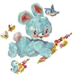 Vintage Blue Bunnies and Bluebirds Nursery Furniture Decals.