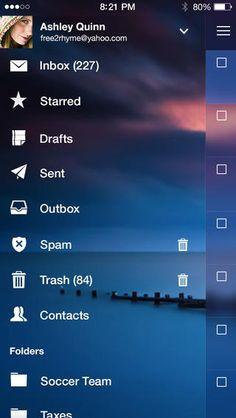 Yahoo! Mail (iPhone): Sidebar, Gen 2 (2013)