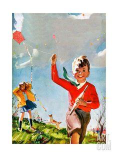 Cerfs-volants - Enfant vie Estampe par Robert O. Skemp à Art.com