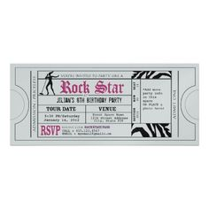Rock Star Party Vintage Ticket Custom Invite