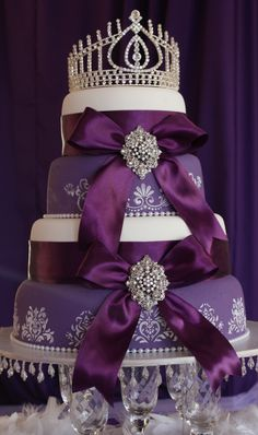 Deep Purple Tiered Wedding Cake with Crown
