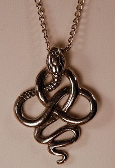 The Lucius Malfoy, silver twisted snake knot pendant necklace, by Kat Goetting (The Spiny Serpent)