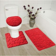 GorgeousHome(ROCK) New Bathroom Collection Set Memory Foam Bath Mat Contour Rug and Round Lid Cover Antislip Bathroom Assorted Colors (RED) Red Bathroom Decor, Bathroom Mat Sets, Bath Mat, Small Bathrooms, Bathroom Accessories, Modern Bathroom, Bathroom Ideas, Bathroom Collections, Rock Design