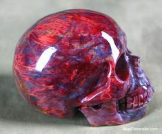 Pietersite Carved Crystal Skull, Gemstone.  This is the reddest Pietersite skull I've ever seen.