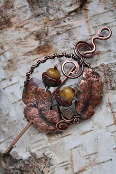 Copper brooch Oak with handmade lampwork bead  by AnnTitovaDesign