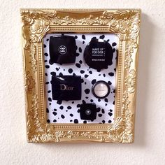 Gold and Black Spots Make Up Frame  by Downtownalyshop on Etsy https://www.etsy.com/listing/231990153/gold-and-black-spots-make-up-frame