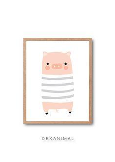 Baby Nursery Print Farmhouse decor Baby Pig Art Print by dekanimal