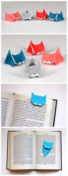 kitten origami bookmarks