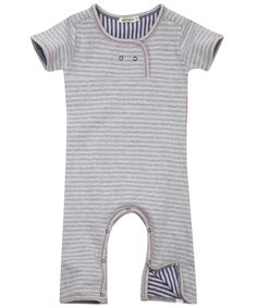 Grey Stripe Short Sleeve Playsuit, Imps  Elfs. Shop more from the Imps and Elfs collection at Liberty.co.uk