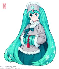 HatsuneMiku is Wearing Hanbok, 하츠네미쿠 한복, 韓服 初音ミク | 한복 hanbok, Korean traditional clothes