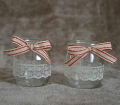 Photophores en verre beige et blanc - Noël - ruban - dentelle - vintage