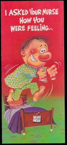 1970 retro STUDIO GREETING CARD Joli Funny Humor, embossed, unused old stock, Get Well,  Pinching Nurse hospital humor Adult