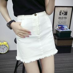 eba6754304 2017 New Casual Women Summer Saias Plus Size XL Jeans Skirts Ladies Mini  Denim Pencil Skirts