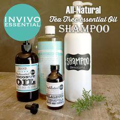 DIY recipe for all natural tea tree oil shampoo #invivoessential