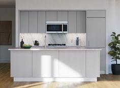 Kitchen Furniture Inspiration, Natural Oak Flooring, Terrazzo Flooring, Hells Kitchen, Marble Countertops, Wainscoting, Common Area, Condominium, White Ceramics