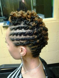 Short mohawk with blond highlights