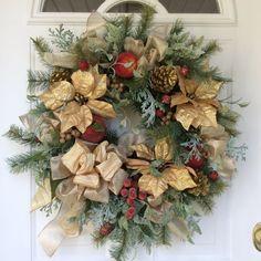 Holiday Wreath-Winter Wreath-Christmas Wreath-Gold Wreath-Elegant Wreath-Beaded Fruit Wreath-Designer Wreath