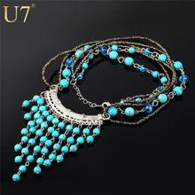 U7 lujo nuevo collar de la declaración Maxi collar mujeres turquesa piedra azul larga de la borla collar de mujer san valentín regalo N485(China (Mainland))