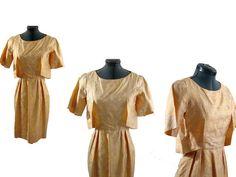 Vintage 60s Wiggle Brocade Yellow Dress by littlebitvintage2, $60.00