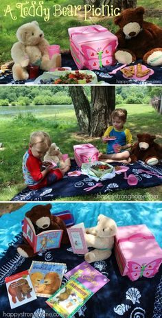 A Teddy Bear Picnic: A whimsical way to make reading fun *perfect inside or out! Summer Activities, Craft Activities, Toddler Activities, Kids Picnic Table, Picnic Theme, Teddy Bear Day, Teddy Bears, Early Learning, Kids Learning