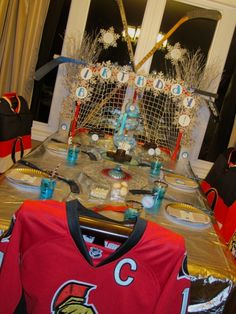 Hockey Themed Winter Tablescape [Boy Bash] - Spaceships and Laser Beams