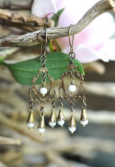 #Brass Chandelier Earrings  #OurChoix #weddings