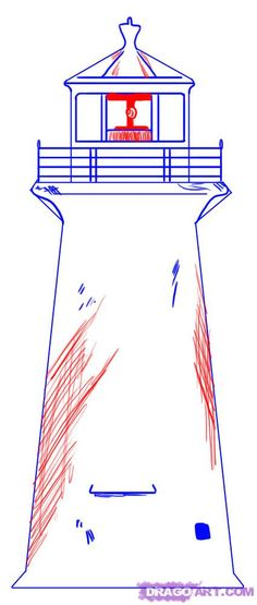 Step 4. How to Draw a Simple Lighthouse