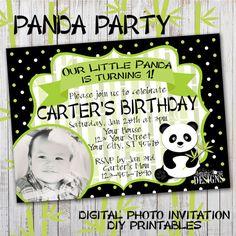 Panda Birthday Party - Digital Photo Invitation by ArtisticAnyaDesigns on Etsy