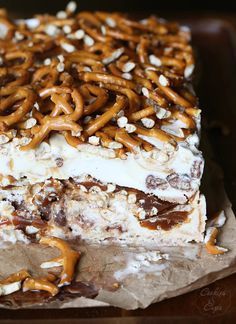 Sweet and Salty Ice Cream Terrine.. yummy Chubby HUbby Ice Cream with pretzels and caramel! SO pretty, simple and insanely delicious!