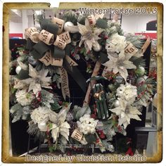 """""""Winter Lodge"""" 36in Wreath 2013 Collection designed by Christian Rebollo for store 2870"""