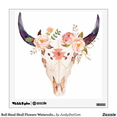 Bull Head Skull Flowers Watercolor Illustration Wall Sticker