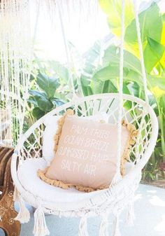SHOP stunning crochet hammock chairs at White Bohemian // http://www.whitebohemian.com.au/collections/shop-home/products/macrame-round-swing-chairs