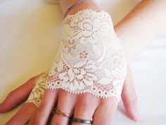 Wedding: Lace Fingerless short gloves, Ivory, Bride, Bridesmaid,Victorian, Steampunk,  Bridal Cuffs, Lace cuff. $8.50, via Etsy.