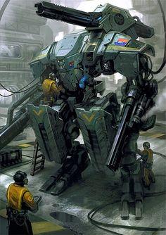 Mech Concept Art by Daryl Mandryk mecha suit Arma Steampunk, Rpg Star Wars, Arte Cyberpunk, Arte Robot, Armadura Medieval, Mekka, Cool Robots, Future Soldier, Robot Concept Art
