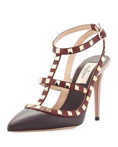 S0B80 Valentino Rockstud Colorblock Leather Sandal, Morello/Crimson
