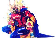 Anime My Hero Academia Boku no Hero Academia Toshinori Yagi Katsuki Bakugou Izuku Midoriya Shoto Todoroki All Might Wallpaper Boku No Hero Academia, Chibi, Itachi, Vocaloid, Rwby, Momo Yaoyorozu, Hero Time, Fanart, Young Boys