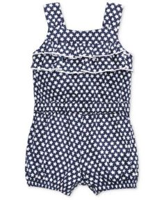 First Impressions Baby Girls' Star-Print Ruffle Romper, Only at Macy's | macys.com