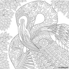 Stock Vector Of Stylized Flamingo Bird Isolated On White Background Freehand Sketch For Adult Anti Stress Coloring Book Page With Doodle And Zentangle