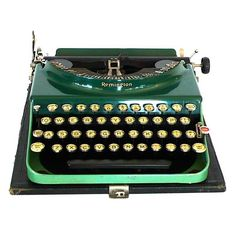 Fantastic Art Deco Original 1927 Green Remington Typewriter | From a unique collection of antique and modern desk accessories at http://www.1stdibs.com/furniture/more-furniture-collectibles/desk-accessories/