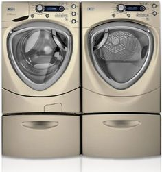 LAUNDRY - GE Appliances- Sponsor of Cool Energy House - GE Profile 4.3 DOE cu. ft. stainless steel capacity frontload washer with Steam, frontload dryer with Steam, and storage pedestals: Features Steam Refresh/Steam Assist, ENERGY STAR® qualified and CEE Tier III rated, Adaptive Vibration Control (AVC), Specialty cycles, eWash option