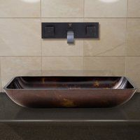 Vigo Rectangular Brown and Gold Fusion Glass Vessel Bathroom Sink and Titus Wall Mount Faucet with Pop Up Faucet Finish: Antique Rubbed Bronze Country Chandelier, Chandelier Lighting, Square Sink, Glass Vessel Sinks, Wall Mount Faucet, Bowl Sink, Bathroom Sink Faucets, Glass Texture, Bronze
