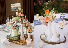 Using single bud vases can be an inexpensive way to add lush floral into your centerpieces, and incorporating milk glass into the mix will create a stylish, eye-catching display.