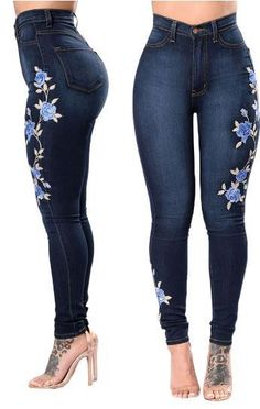 d40b7e4066 jeans embroidery pantalones vaqueros mujer Jeans pantalones de mujer denim  Pencil Pants Female ripped jeans para mujeres beg