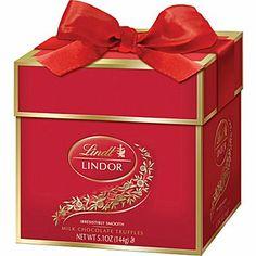Lindt LINDOR Chocolate Truffles Token Gift Box, Milk Chocolate, 12 Truffles/Box