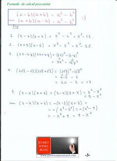 Formule de calcul prescurtat: teorie + exemple (exercitii rezolvate matematica gimnaziu) – #JitaruIonelBLOG -pregatire BAC si Evaluarea Nationala 2020 la matematica si alte materii! *materiale (lectii +formule +exercitii rezolvate matematica) gimnaziu si liceu; *edu.ro modele BAC 2020 modele Evaluare Nationala 2020; *modele simulare Evaluare Nationala BAC 2020 2019 2018 2017 2016 2015 2014 2013 2012 2011 2010 subiecte.edu.ro; Modele comper 2020; evaluare nationala clasele 2 4 6 modele 2020; *tit Formulas, Algebra, Bullet Journal, Blog, Education, Math, Notes, Ideas, Calculus