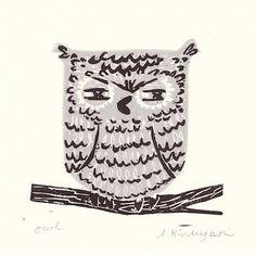 Owl Print #original #blockprint by Amanda Kindregan